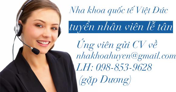 Tuyển lê tân tại Nha khoa Quốc tế Việt Đức